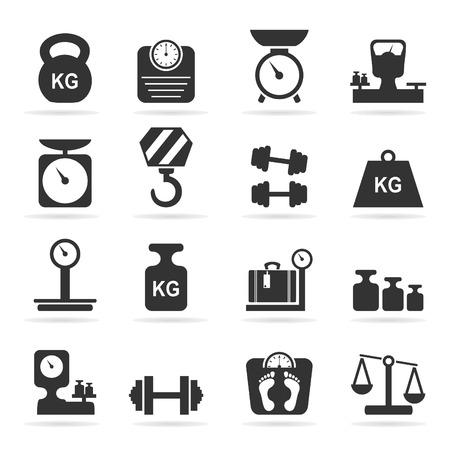 signos de pesos: Conjunto de iconos de escalas. Una ilustración