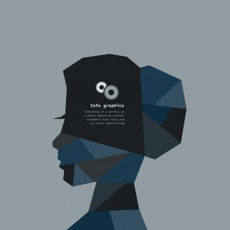 ringlet: Abstract female head. A illustration