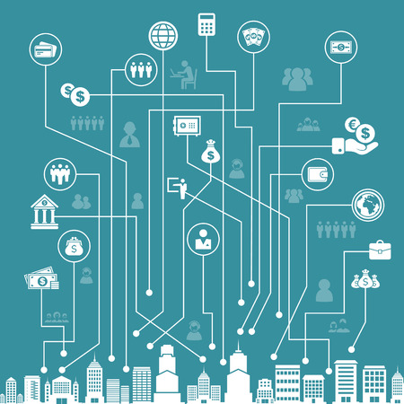 abstract city: Business on a line in a city. A vector illustration Illustration