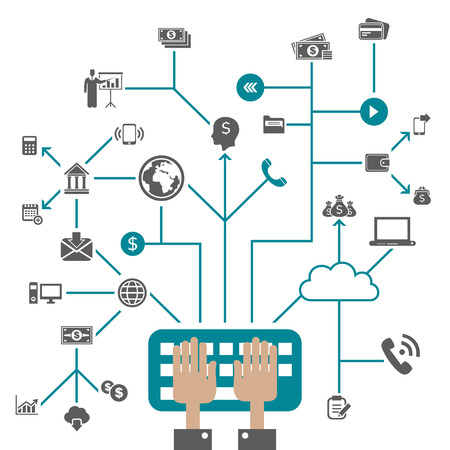 Business in computer networks. A vector illustration Vector