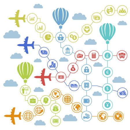 Planes carry business the sky. A vector illustration Vector