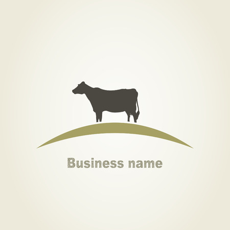 Cow in the field. A vector illustration Illustration