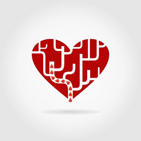 Red heart un labyrinthe. Une illustration vectorielle