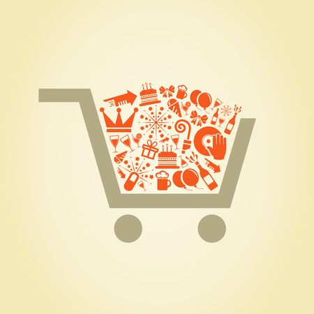 In a cart the holiday lays. A vector illustration Vector