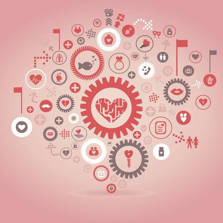 Abstract gear wheel love. A vector illustration Vector