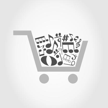 gift cart: Cart filled with musical notes. A vector illustration