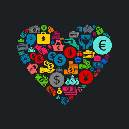 Heart made of business. A vector illustration Vector