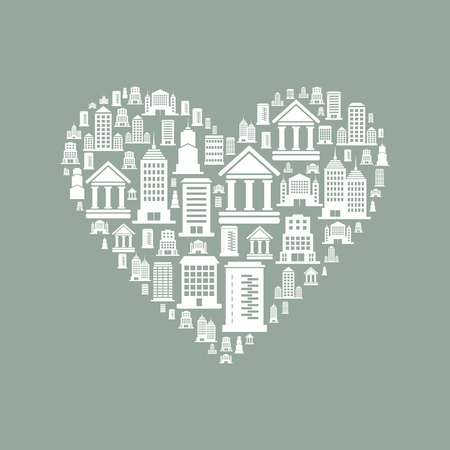 Heart made of houses. A vector illustration Vector