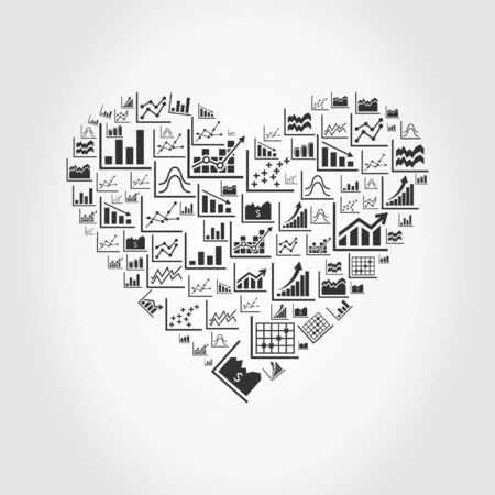 personal organizer: Heart made of the schedule. A vector illustration Illustration