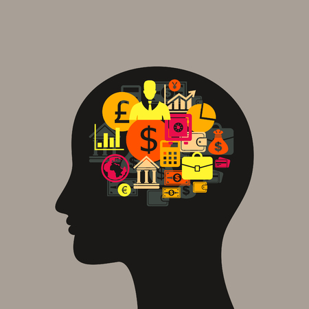 Business in a head of the person. A vector illustration
