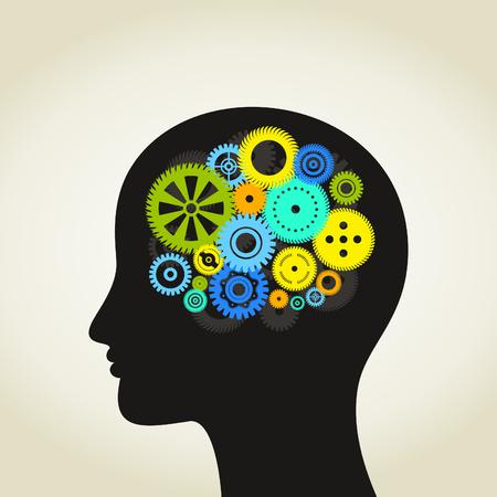 head gear: Gear wheel in a head of the person. A vector illustration