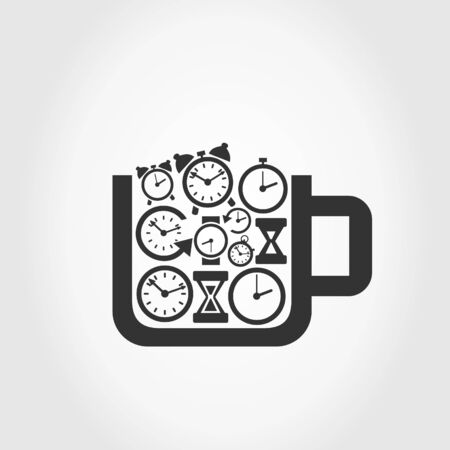 readout: Cup filled with hours. A vector illustration