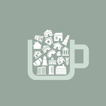 Cup filled with houses. A vector illustration Vector