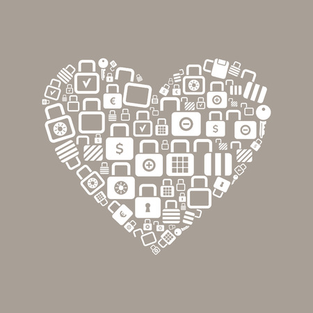 Heart made of locks. A vector illustration Vector