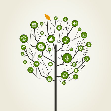 Abstraction a tree music. A vector illustration Vector