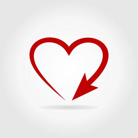 Flèche coeur. Une illustration vectorielle