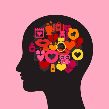 Head made of love. A vector illustration Vector