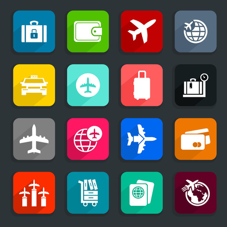 rear wing: Collection of icons on a theme aircraft. A vector illustration