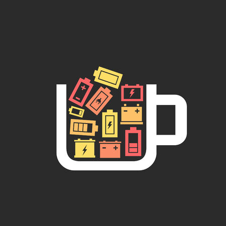 polarity: Cup the filled battery. A vector illustration
