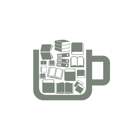 Cup the filled book. A vector illustration Illustration