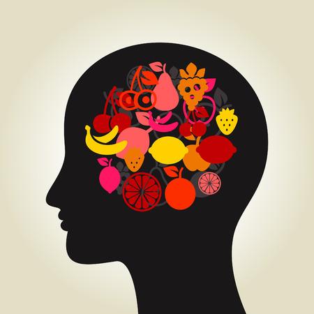 brain food: Head made of fruit. A vector illustration Illustration