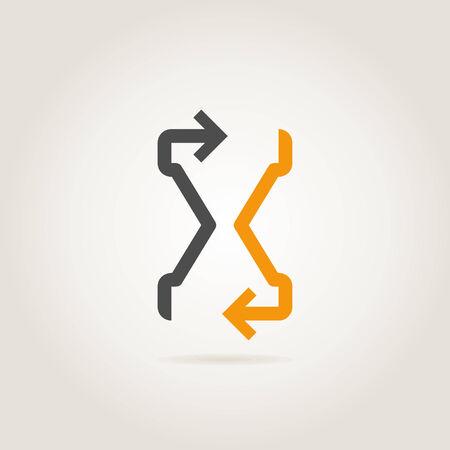Arrow a sand-glass. A vector illustration Illustration
