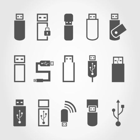 microdrive: Set of icons the store the computer. A vector illustration