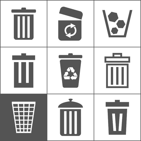 office stuff: Set of icons of baskets. A vector illustration