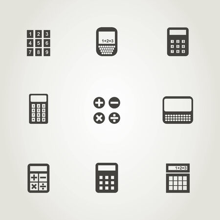 maths department: Set of icons the calculator. A vector illustration