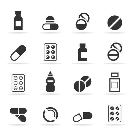bandaging: Set of icons a tablet. A vector illustration Illustration