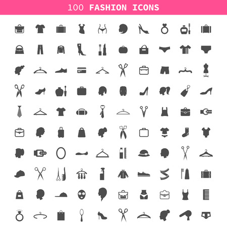 Collection of icons on a theme a fashion and clothes. A vector illustration Vector