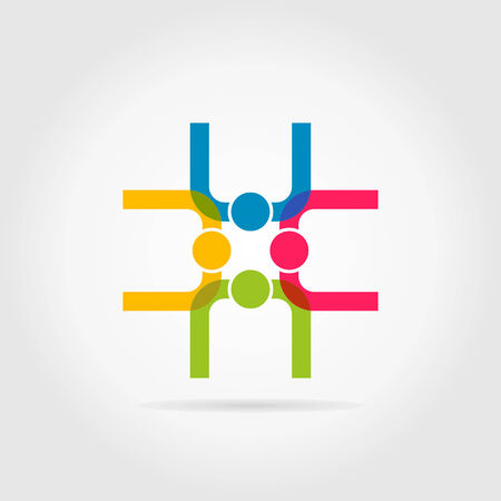 voluptuous: Four persons the top view. A vector illustration