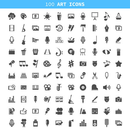 Collection of icons all art forms. A vector illustration Vector
