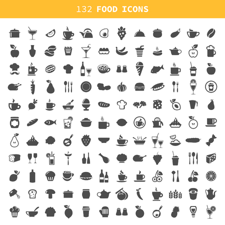 grapes and mushrooms: Collection of icons of food and ware. A vector illustration Illustration