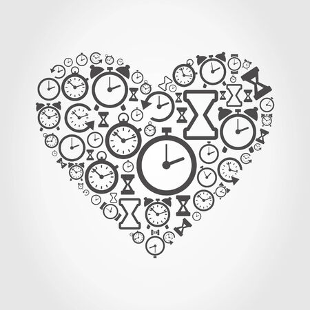 Heart made of hours. A vector illustration