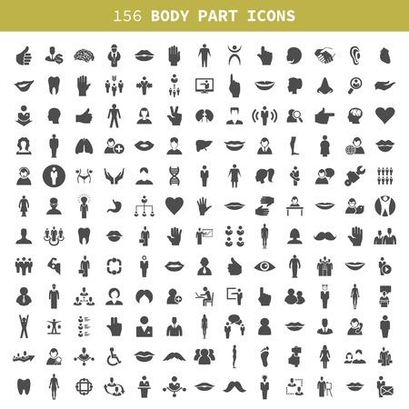 Sammlung von Ikonen aus einem Teil des Körpers der Person. Eine Vektor-Illustration Illustration