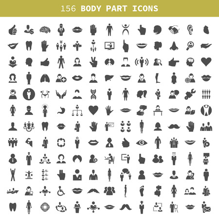 Collection of icons of a part of a body the person. A vector illustration Illustration