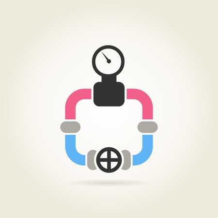 waterpipe: Waterpipe from pipes with the pressure gauge. A vector illustration