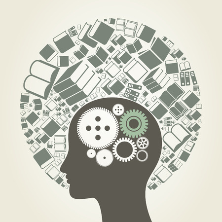 data dictionary: Head made of books. A vector illustration