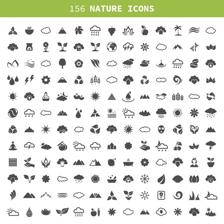 Collection of icons of the nature. A vector illustration Vector
