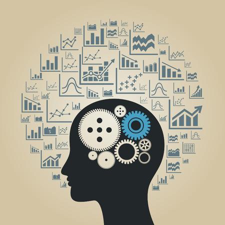 crecimiento personal: Cabeza hecha de la programación. Una ilustración vectorial Vectores
