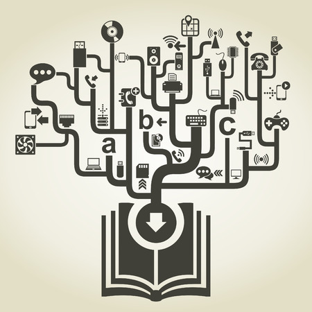 electronic book: Technics electronics from the book. A vector illustration