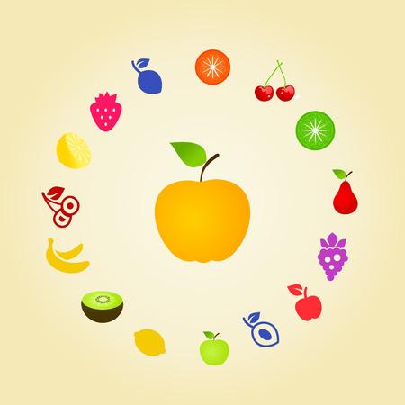yellow apple: Yellow apple around fruit Illustration