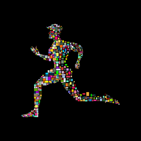 The running man on a black background Stock Vector - 27907422