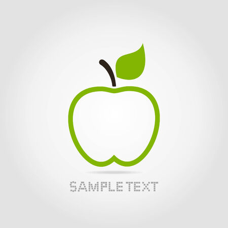 Green apple with green leaf on a grey background Vector