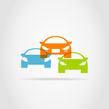 Three cars on a grey background Vector