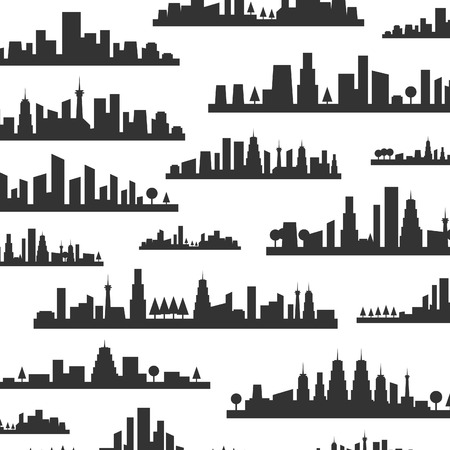 Background made of silhouettes of landscapes of cities Vector