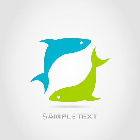 Blauwe en groene vis op een grijze achtergrond
