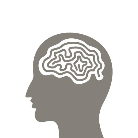 neanderthal man: Brain a labyrinth in a head of the man Illustration
