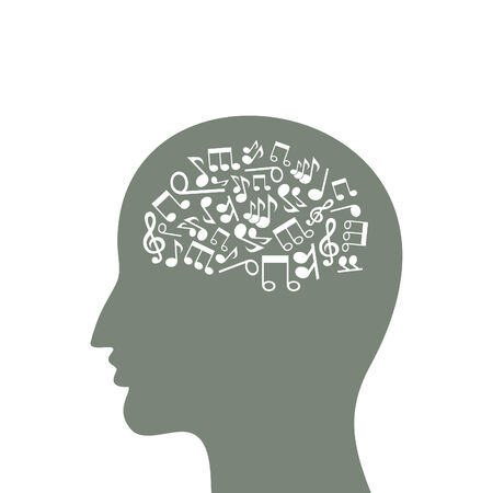 Musical notes in a head of the person Vector
